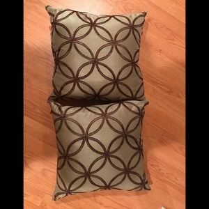 Other - 2 New Green Pillows with Brown Embroidery